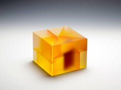 """Yellow Red Cuboid Segmentation"", Glass Sculpture with Interior Lamination"