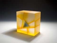 """Yellow Blue Cuboid Segmentation"", Glass Sculpture with Interior Lamination"