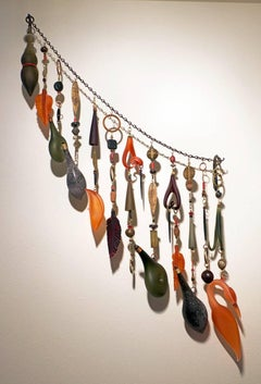 Wall Mounted Glass and Metal Sculpture with Mixed Media