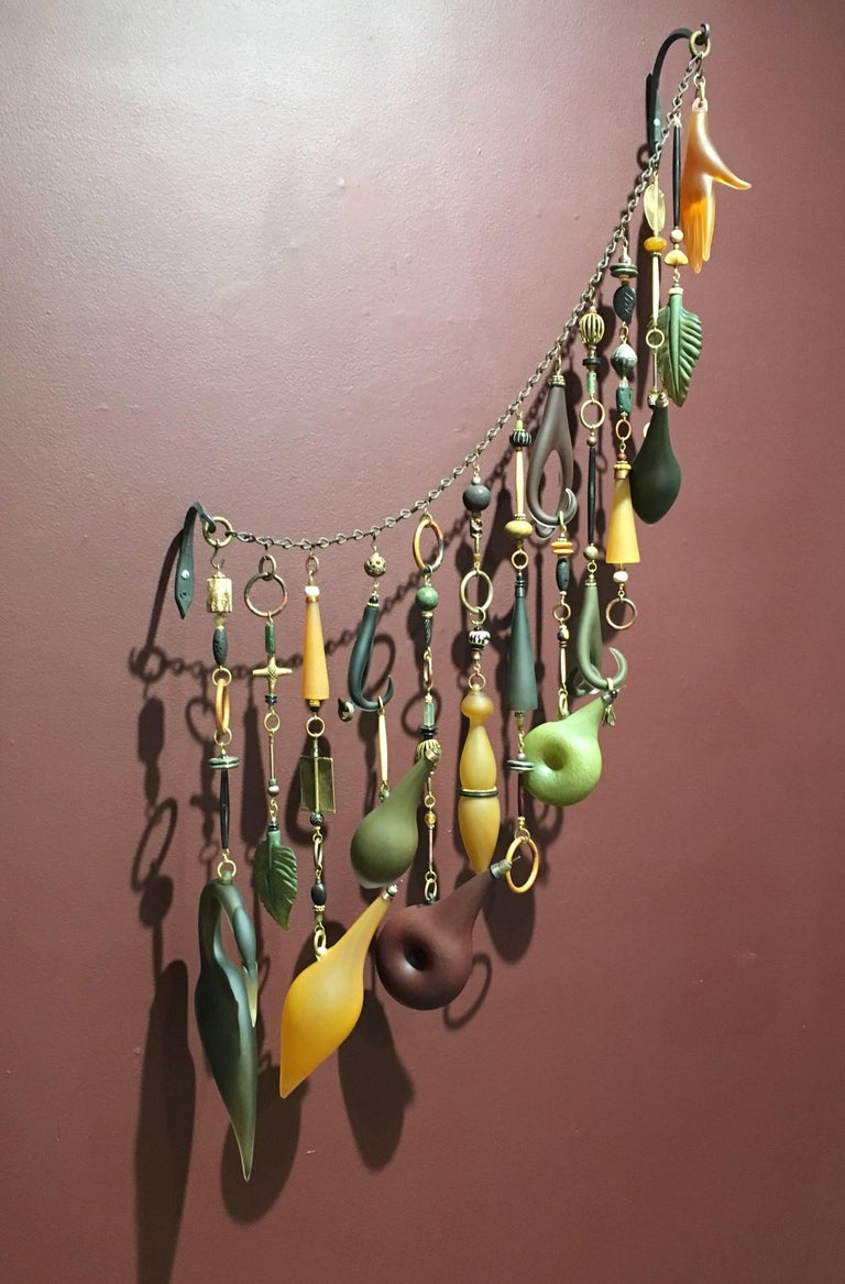 Contemporary Glass and Metal Sculpture, Wall Mounting with Mixed Media