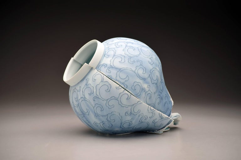 """""""Jar with Scroll Pattern"""", Deconstructed Porcelain Sculpture with Glaze"""