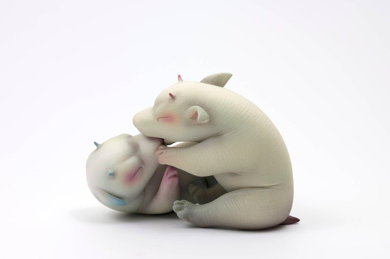 """Can't Take the Fight From the Kid"", Hand Sculpted Porcelain with Acrylic Paint - Sculpture by Erika Sanada"