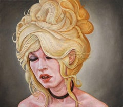 """BB Dreaming"", Contemporary Portrait Oil Painting on Linen, Framed"