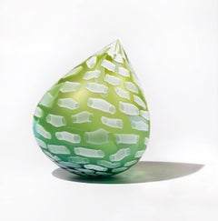 """Sprout Droplet"", Glass, Contemporary, Sculpture, Blown Glass, Abstract, Green"