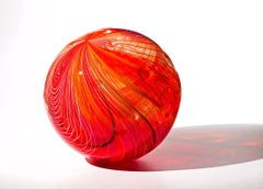 """Red Hot Orb"", Blown Glass Sculpture"