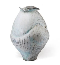 Contemporary Large Ceramic Jar, Porcelain with Shino Glaze and Iron Inclusions