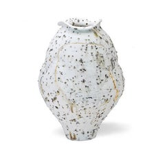 Moon Jar with Gold, Porcelain with Iron Inclusions and Gold Leaf