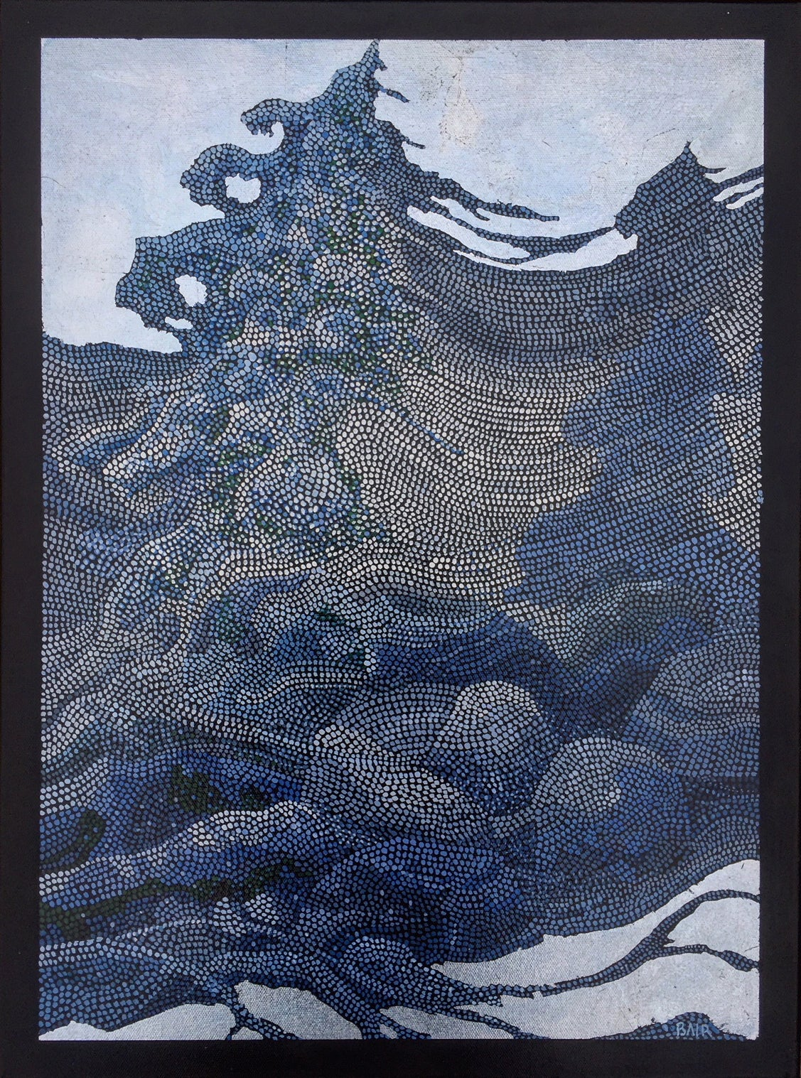 """""""The Winds in Winter"""", Landscape Oil Painting with Silver Leaf Embellishments"""
