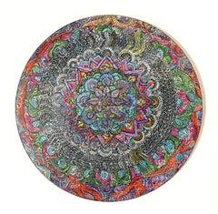 """Solar Portal"", Abstract Acrylic Painting on Wooden Tondo"