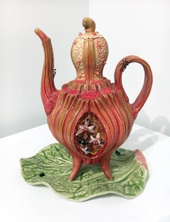 Surrealist Porcelain Teapot Sculpture with Glass Accents