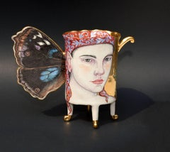 Contemporary Mixed Media Porcelain Sculpture with Portrait Illustration, Luster
