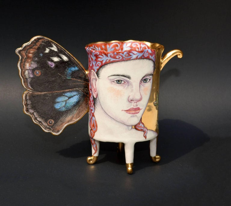 Contemporary Mixed Media Porcelain Sculpture with Portrait Illustration