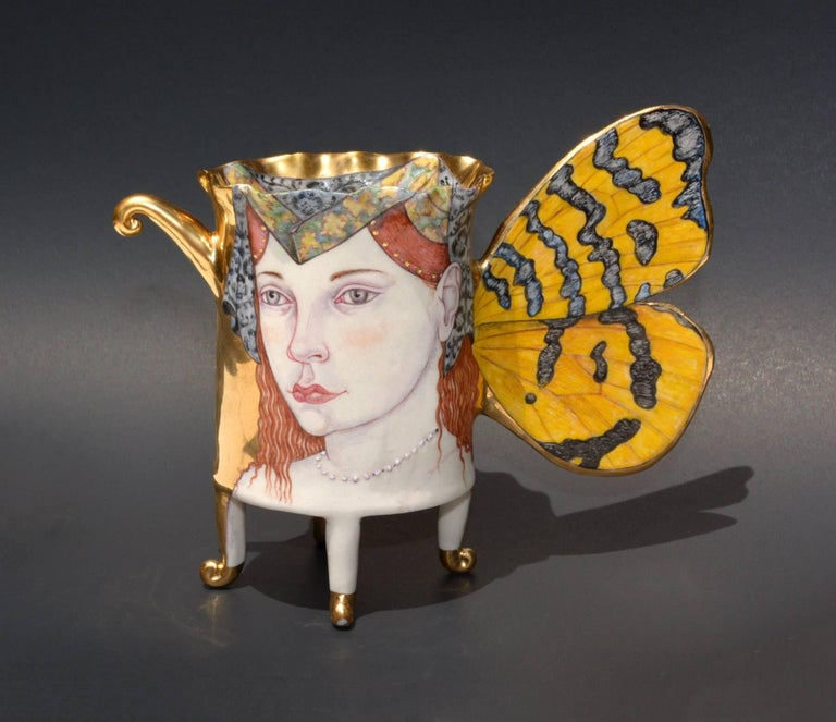 """Amphillia, Butterfly Cup"", Contemporary Porcelain Sculpture with Illustration"