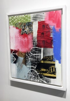 Contemporary Abstract Oil Painting with Collage on Canvas, Framed Mixed Media