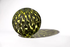 """Olive Shimmer Orb"",  Contemporary Blown Glass Sculpture with Patterning"