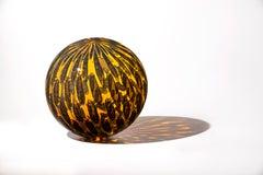 """Amber Shimmer Orb"" Contemporary Blown Glass Sculpture"