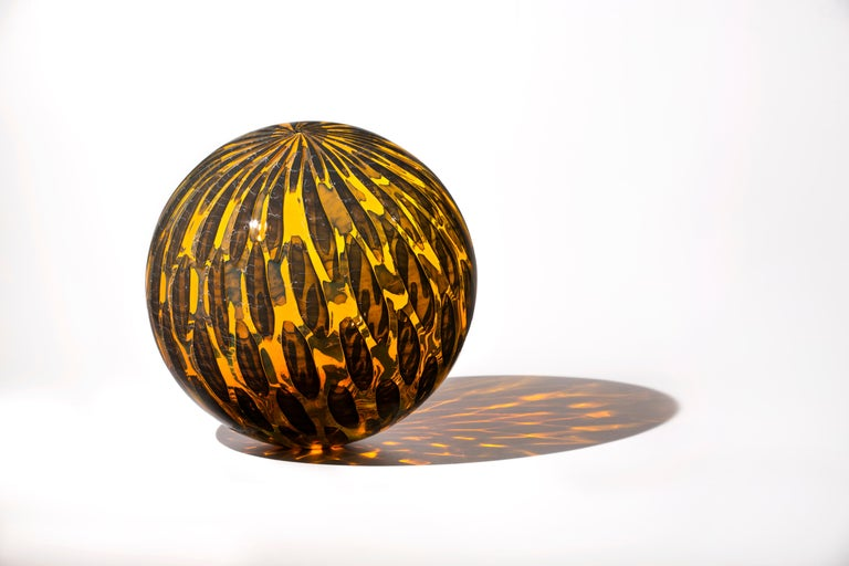 """Amber Shimmer Orb"", Contemporary Blown Glass Sculpture with Patterning"