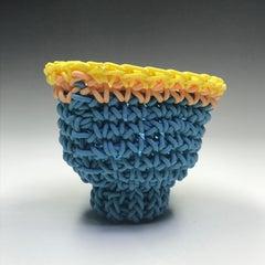 """Hand Crocheted Porcelain """"Tea Bowl"""", Unique Contemporary Ceramic Sculpture"""