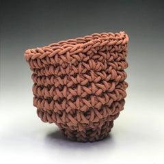 """Hand Crocheted Ceramic """"Tea Bowl"""", Unique Contemporary Ceramic Sculpture"""