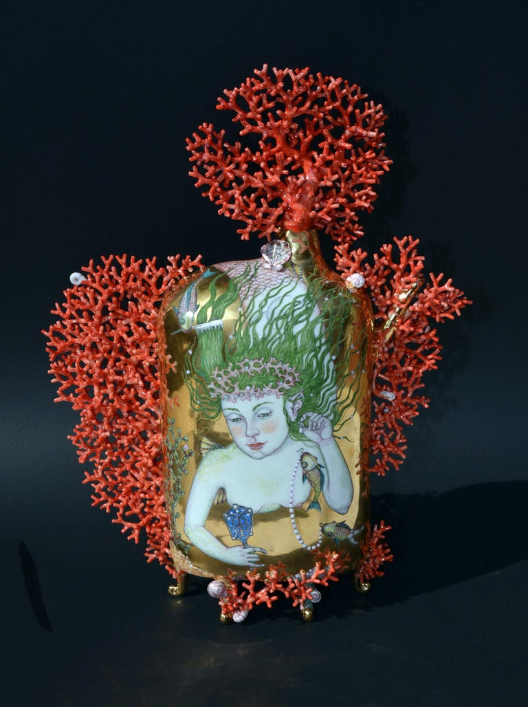 """""""Mermaid's First Ball"""", Hand Sculpted Porcelain with Painted Illustration"""