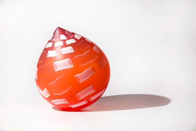 """Ambrosia Droplet"", Contemporary Blown and Etched Glass Sculpture"