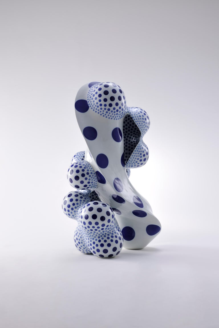 Harumi Nakashima Abstract Sculpture - A Disclosing Form 1607, Avant Garde Abstract Porcelain Sculpture with Polka Dots
