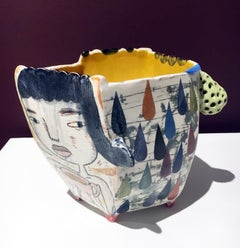 Abstract Ceramic Vessel with Colorful Glaze and Surface Illustration, Cup, Bowl
