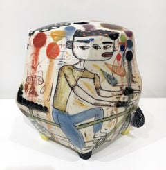 """Sissy Bar"", Abstract Porcelain Sculpture with Surface Illustration, Underglaze"
