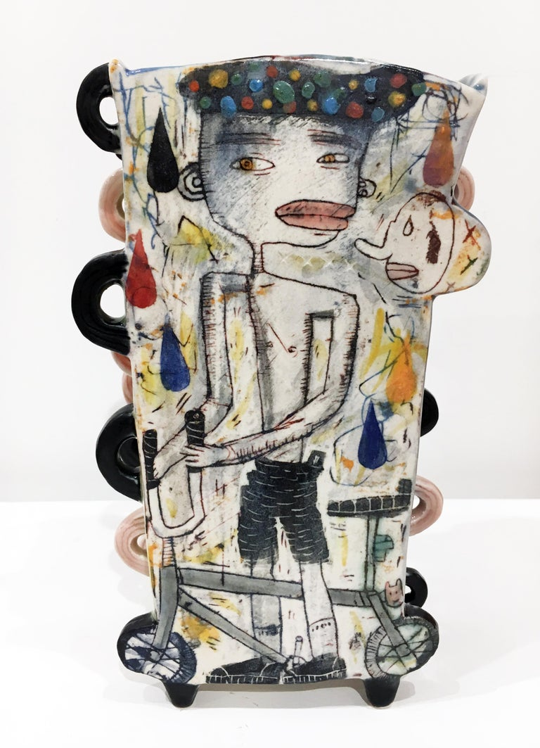 """Rubber Soul"", Abstract Porcelain Sculpture, Surface Illustration, Underglaze"