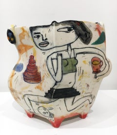 """Piece of Cake"", Abstract Porcelain Sculpture with Illustration and Underglaze"