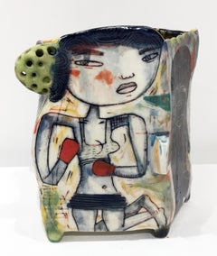 """Knuckle Sandwich"" Porcelain Sculpture with Surface Illustration and Underglaze"