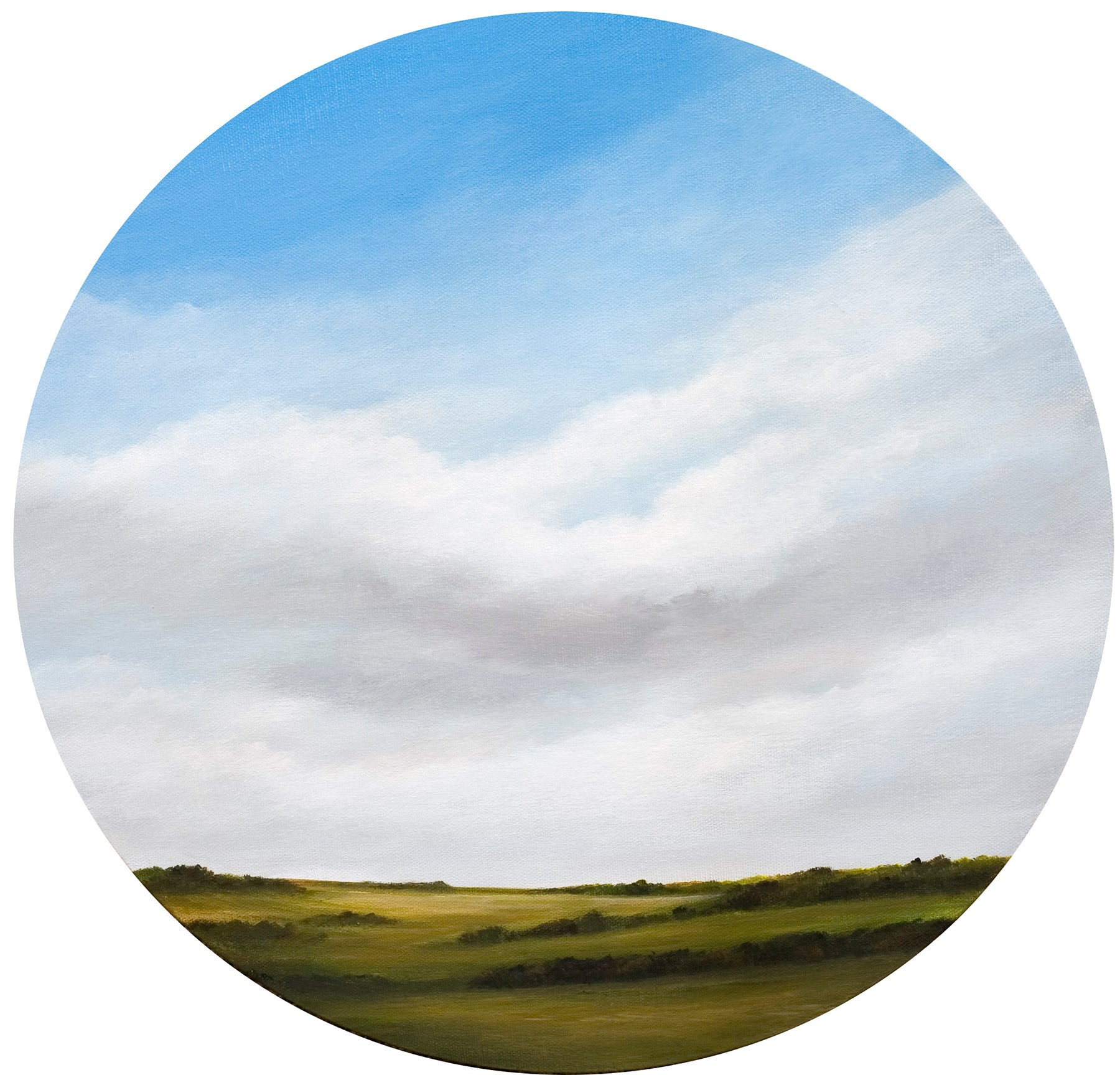 """""""Across the Prairie"""", Contemporary, Landscape, Painting, Circular Frame, Canvas"""