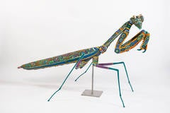 """Das Bug"", Giant Praying Mantis Form Covered in Glass Seed Beads"