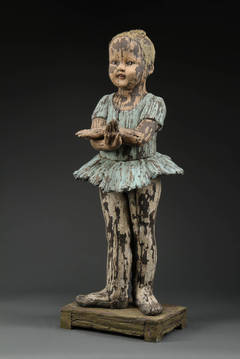 """Hand Dance"", Ceramic Figure with Wood-Like Surface Quality"