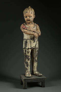 """Little Dancer with Moth"", Figurative Ceramic Sculpture, Wooden Appearance"