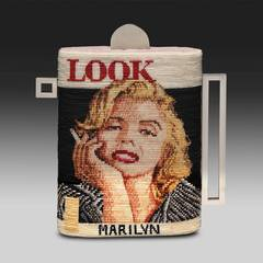 """Marilyn/Look"" , Knotted Waxed Thread on Stainless Steel"