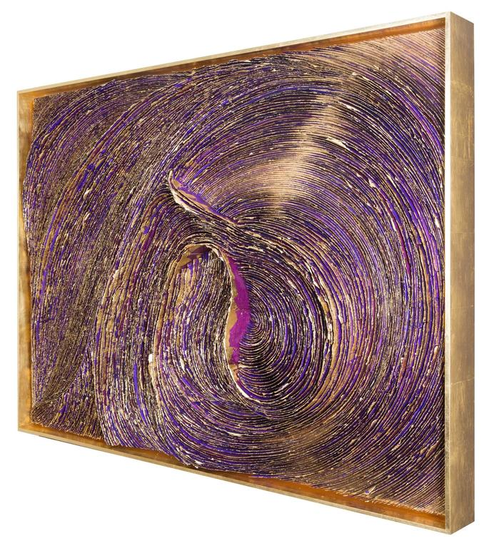 "Katherine Glover Abstract Sculpture - ""Dark Matter"", Hand Made Paper with Gold Leaf on Panel"