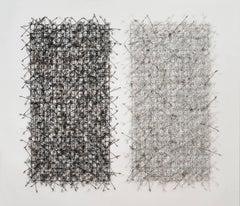 """Circle Grid Diptych"", Contemporary Wall Mounting Sculpture Composed of Metals"