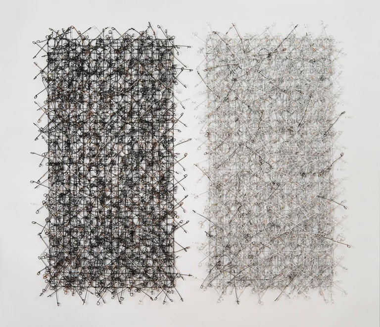 """John Garrett Abstract Sculpture - """"Circle Grid Diptych"""", Contemporary Wall Mounting Sculpture Composed of Metals"""