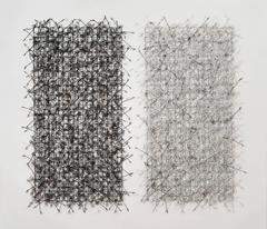 Circle Grid Diptych by John Garrett, Painted Grid with Rebar Ties and Wire Wraps