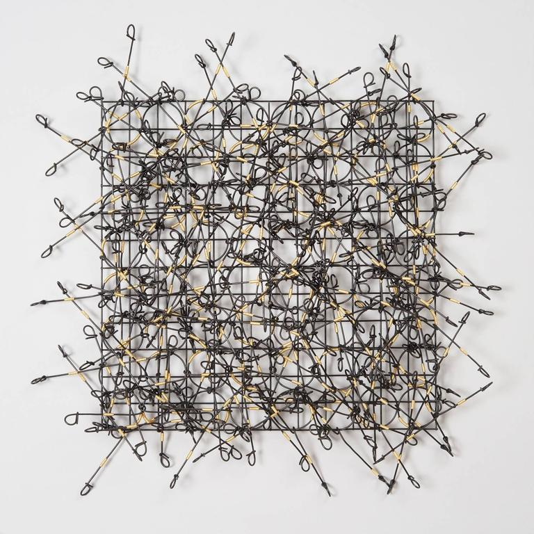 Circle Grid Number Three by John Garrett, Painted Metal Grid with Wire Wrappings