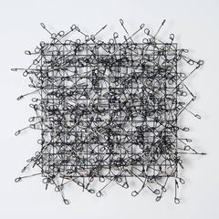 Circle Grid Number Four by John Garrett, Painted Grid with Sterling Silver Wraps