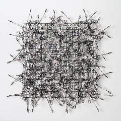 Circle Gird Number Five by John Garrett, Painted Grid with Stainless Steel Wraps