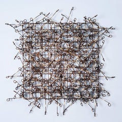 """Circle Grid No. 6"", Contemporary Wall Mounting Recycled Metal Sculpture, Design"