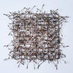 Circle Grid Number Six by John Garrett, Painted Metal Grid with Gold Wire Wraps
