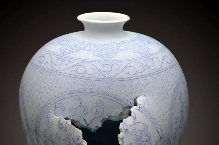 Maebyeong Vase with Peonies by Steven Young Lee, Porcelain, Cobalt Inlay, Glaze For Sale 3