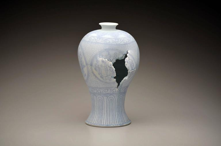 Maebyeong Vase with Peonies by Steven Young Lee, Porcelain, Cobalt Inlay, Glaze For Sale 4