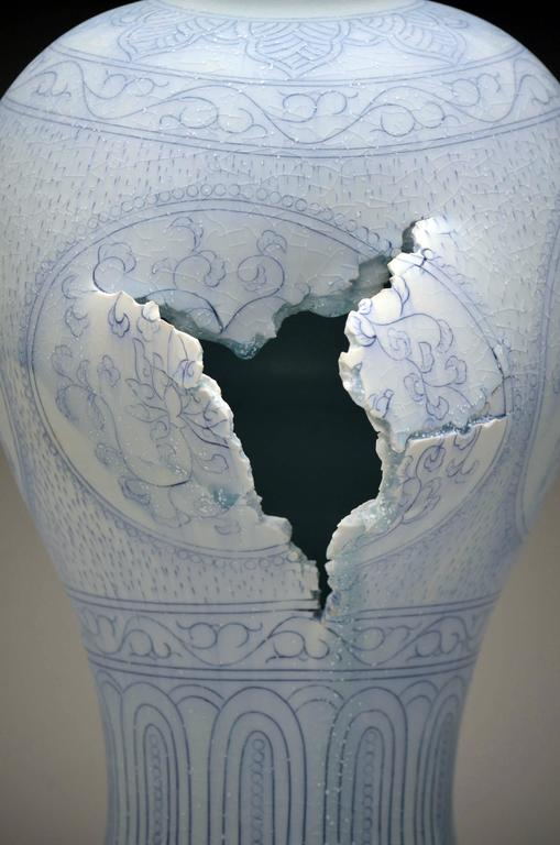 Maebyeong Vase with Peonies by Steven Young Lee, Porcelain, Cobalt Inlay, Glaze For Sale 1