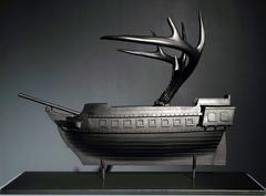 Kiln Glass Boat Sculpture by Adam Cohen, Cast Glass with Antlers, 2015
