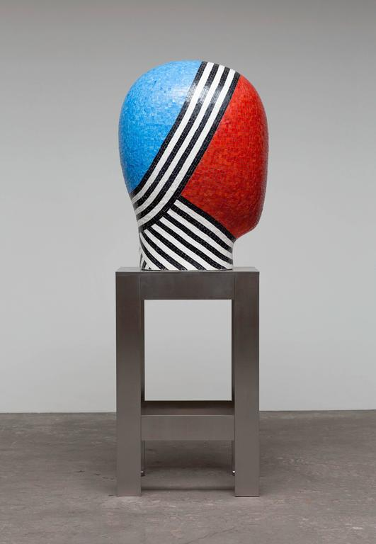 Jun Kaneko Sculpture - Ceramic Head Form Covered with Glass Mosaic